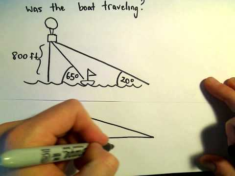 Trigonometry Word Problem, Determining the Speed of a Boat, Example 3