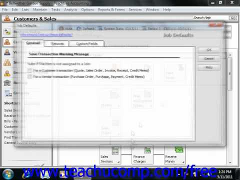 Peachtree Tutorial Setting Job Defaults Sage Training Lesson 11.2