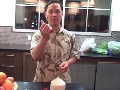 Young Thai Coconut Opening Opener Tool Demonstration How to Open a Green Coconut