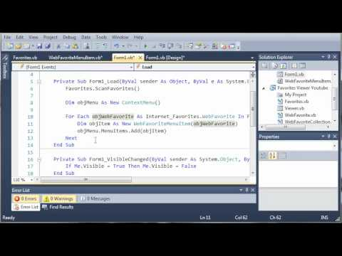 Visual Basic Tutorial - 199 - Favorites Tray Part 4   Adding Our Favorites To The ContextMenu
