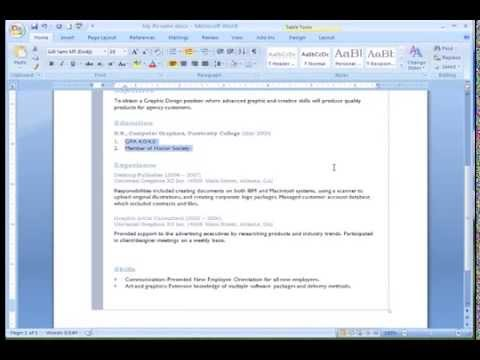 Word 2007: Working with Lists