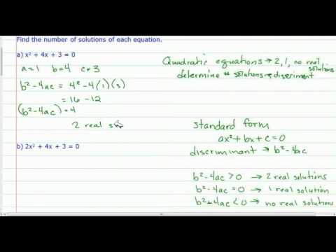 The Discriminant - Quadratic Equations