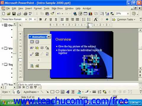 PowerPoint 2003 Tutorial Using Preset Animation 2000 & 97 Microsoft Training Lesson 18.1