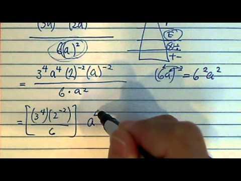 simplify( (3a)^4 (2a )^-2) over ( 6*a^2 )