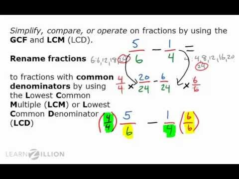 Rename fractions using the greatest common factor and lowest common denominator - 5.NBT.3