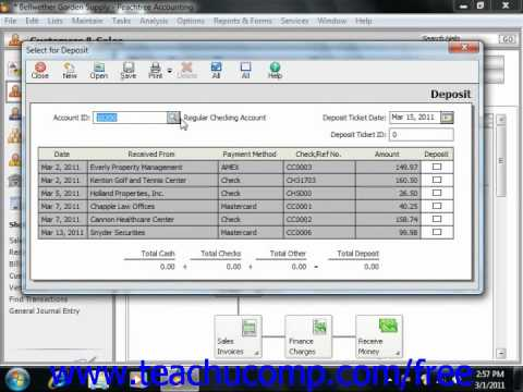 Peachtree Tutorial Selecting Deposits Sage Training Lesson 4.10