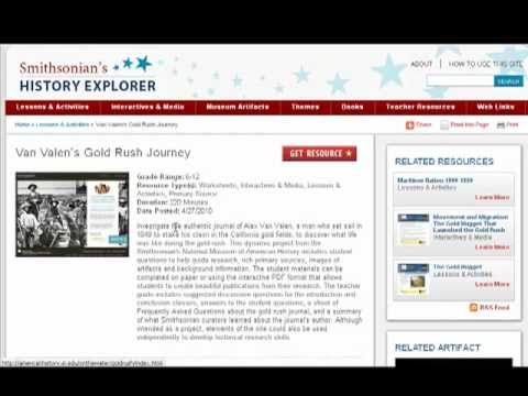 Navigating Individual Resource Pages on History Explorer
