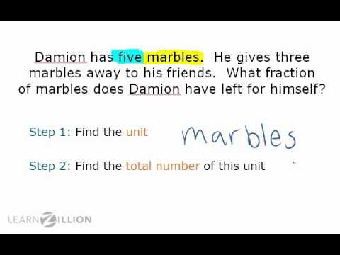 Solve fraction word problems using key words and pictures - 3.NF.1