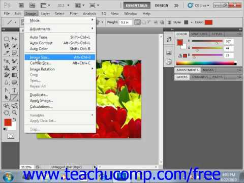 Photoshop CS5 Tutorial Image Size & Resolution Settings Adobe Training Lesson 3.3