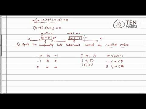 Quadratic Inequalities using Algebra