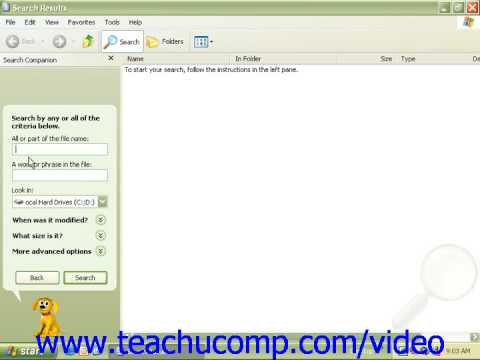 Windows XP Tutorial Searching for a File or Folder Microsoft Training Lesson 6.1