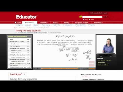 Pre Algebra: Two Step Equations