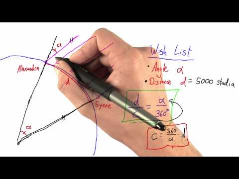 Spotting Triangles - Intro to Physics - Circumference of Earth - Udacity