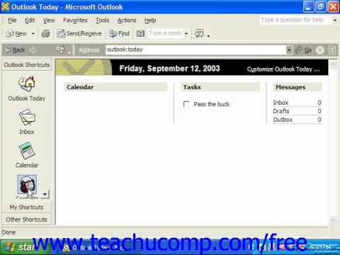 Outlook 2003 Tutorial The Outlook Bar XP & 2003 Microsoft Training Lesson 1.10
