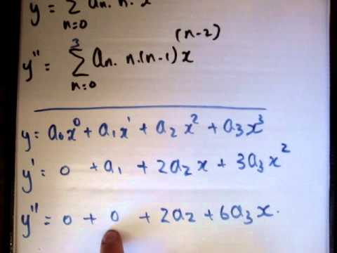 Power series solutions to differential equations