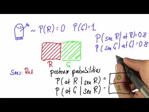Robot Sensing 2 Solution - Intro to Statistics - Bayes Rule - Udacity
