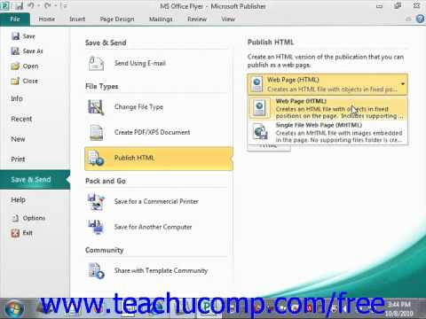 Publisher 2010 Tutorial Save and Send Microsoft Training Lesson 11.3