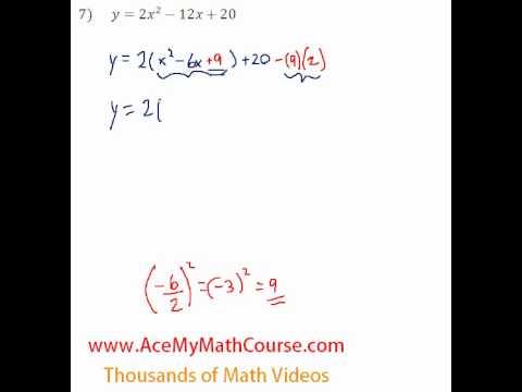 Quadratics - Finding the Vertex Questions #7