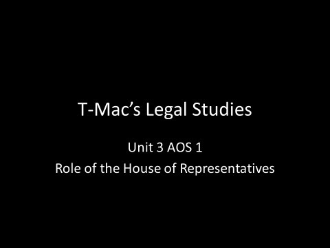 VCE Legal Studies - Unit 3 AOS1 - Parliament - Role of the House of Representatives
