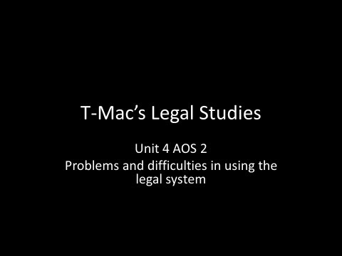 VCE Legal Studies - Problems and difficulties faced by individuals in using the legal system