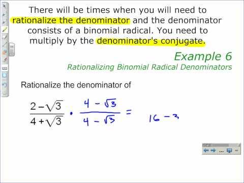 Rationalizing Binomial Radical Denominators