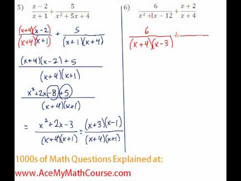 Rationals - Adding Rational Expressions #5-6