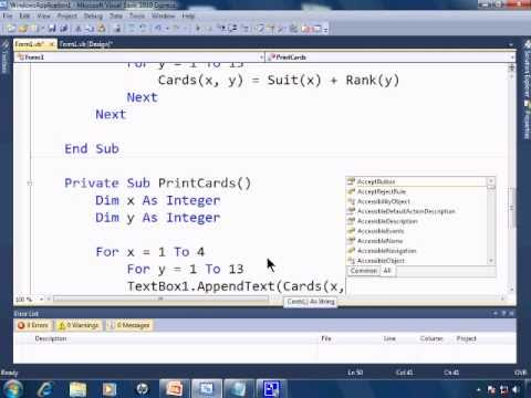 Visual Basic 2010 Express Tutorial 14 - Making A Multidimensional Array and Matrix