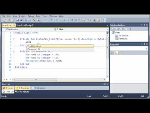 Visual Basic Tutorial - 42 - User Defined Subs
