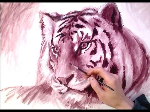 TIGER Monochrome Painting - traditional Speed Drawing