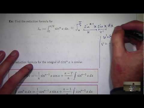 Reduction formula sin^n x