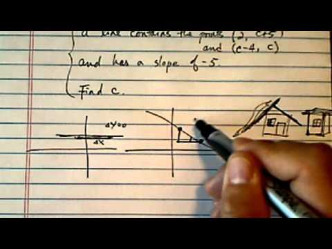 Slope (Linear Equation in Algebra): a line contains (2, c+5) & (c-4,c), slope -5. Find c?