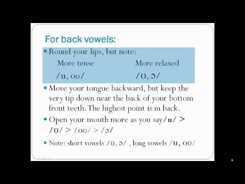 Pronunciation of English Vowel Sounds 3 - Back Vowels - Part 2 (with captions)