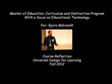Universal Design for Learning Reflection: Bjorn Behrendt
