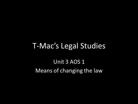 VCE Legal Studies - Unit 3 AOS 1 - Means of changing the law