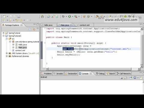 Spring Framework 3 Installation and Hello Word Video Tutorial.