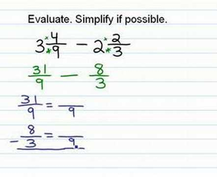 Subtract Fractions (mixed numbers)