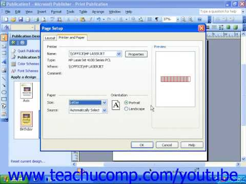 Publisher 2003 Tutorial Adjusting Page and Print Setup Options Microsoft Training Lesson 2.5