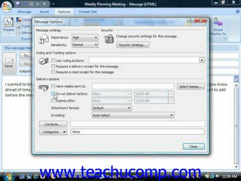 Outlook Tutorial Setting Message Options Microsoft Training Lesson 3.7