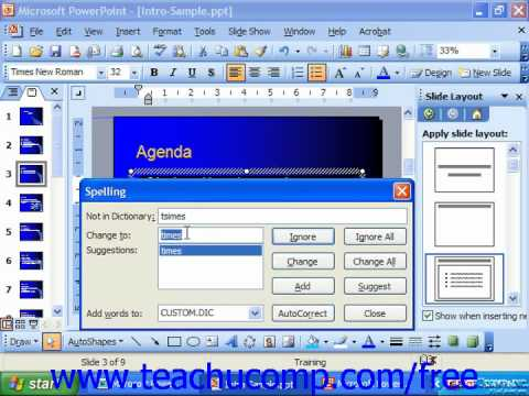 PowerPoint 2003 Tutorial Using the Spelling Checker Microsoft Training Lesson 8.2