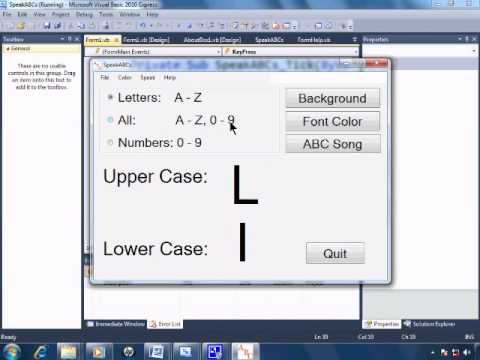 Visual Basic 2010 Express Tutorial 27 - Wrap Up - SpeakABcs 11/11
