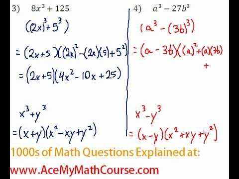 Polynomials - Factoring Two Cubes Question #4