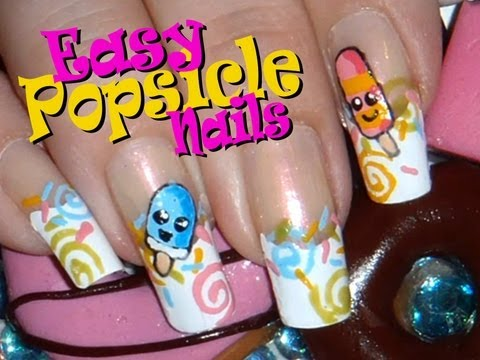 Sweets: Easy Cute Popsicle / Creamsicle Nail Art Design