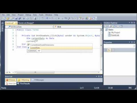 Visual Basic Tutorial - 86 - Dates