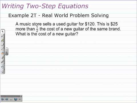 Unit 1 Lesson Topic 5 - Part 1 - Solving Two-Step Equations