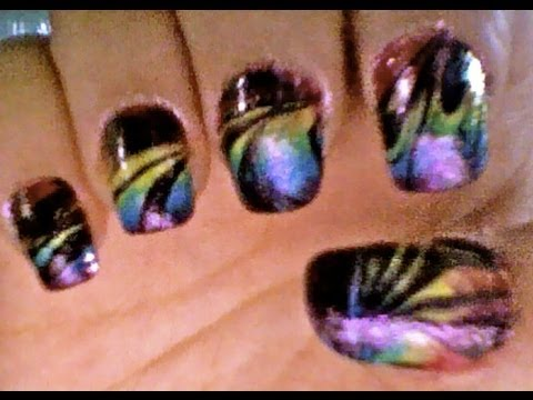 Rainbow Black Swirl Water Marbling