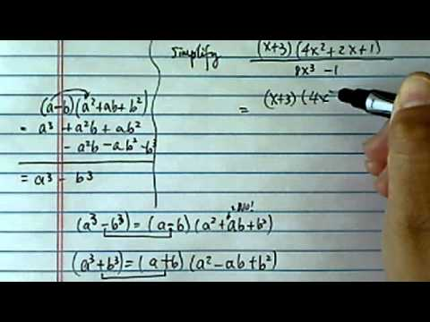 Sum & Difference of Cubes: simplify ((x+3)*(4x^2+2x+1))/(8x^3-1)