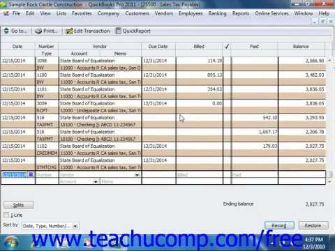 QuickBooks 2011 Tutorial Using the Sales Tax Payable Register Intuit Training Lesson 14.2