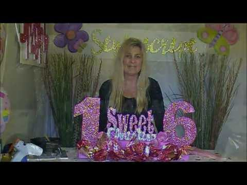 Styrofoam Centerpieces - Sweet 16 Centerpiece Idea - How to make a Sweet 16 Candle Centerpiece