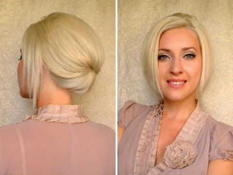 Short hair updo for work office job interview Elegant formal hairstyle for medium long hair
