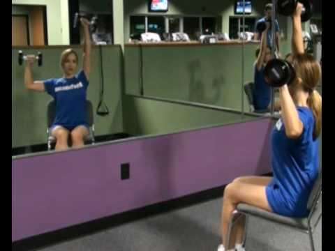 Shoulder Press, Seated Chair ,Dumbbells : BeYourTrainer.com